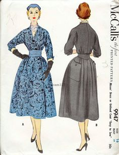 Vintage 1954 Diagonal Front Buttoned Wrap Dress Pattern Back Patch Pockets 1950s McCalls 9947 Bust 34