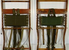 Antique Canvas/Wood Set 2 BacKPack Frames - Vintage Hand Made Heavy Duty Hiking Gear - Military Mountaineer RuckSack Supports - Cabin Decor $220.00