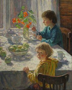 Чулович М.Дети за утренним чаемх.м.,, 1998 г.