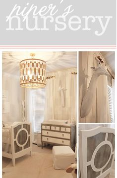 Grey and white baby room... maybe splash of yellow?