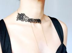 unique lace necklace // black gold chain lace choker by LaceFancy