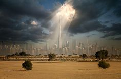 Dubai - Soleil sur les tours gigantesques