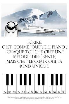 Écrire, c'est comme jouer du piano chaque touche créé une mélodie différente, mais c'est le cœur qui la rend unique. « Laisse moi mon stylo, y'a pas moyen que je m'arrête ; j'ai une envie d'écrire comme t'as une envie de cigarette. » Grand corps malade On a trempé notre plume dans notre envie de …