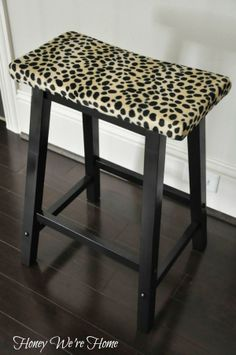 Honey We're Home: Leopard Print Stool Makeover