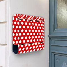 """Fröhlicher Edelstahl Briefkasten """"Punkte Rot"""" von banjado auf DaWanda.com"""