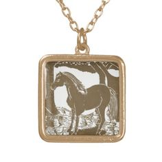 """Gold plated horse necklace with 18"""" chain; sterling silver and other shapes also available at different price points.  $18.95.  (Tip: check bottom of the page to see if there's a sales promotion for a better price - you will need a code.)"""