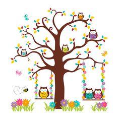 Owl Tree Decal Mural Wall Art Girl Woodland Forest Animals Nursery Stickers  #Handmade