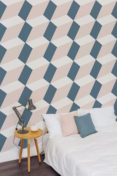 Take your bedroom to a whole new dimension with this 3D wallpaper design. This super unique geometric wallpaper design combines a beautiful dusky pink with ash grey tones to give a contemporary colour palette.