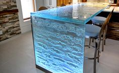 The Ultimate Glass Countertop for Kitchen & Bar Thermoformed glass kitchen countertops Beautiful Kitchen Designs, Beautiful Kitchens, Cool Kitchens, Kitchen Tops, Diy Kitchen, Kitchen Decor, Kitchen Island, Decorating Kitchen, Awesome Kitchen