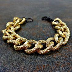 Chunky Bracelet Chunky Chain Bracelet Gold Black Curb by Pilboxx