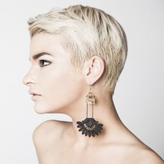 Lace earrings  Wanderlust  Black lace with golden hinge by thisilk, $48.00