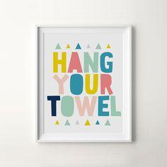 Bathroom Kids Reminder Print Hang Your Towel by ILovePrintable