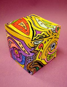 Substitute Art Lessons - design that goes around a cube continuously (grades 3-5)