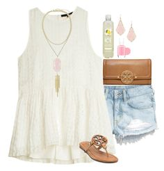 """Hey!"" by sassy-preppy ❤ liked on Polyvore featuring H&M, TIBI, Tory Burch, Kendra Scott and Essie"