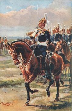 British; 6th Dragoon Guards(The Carabineers), The Regiment in Review Order, c.1908 by H.Payne