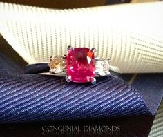 Love colourful jewellery? Take a look at this PINK sapphire three stone ring