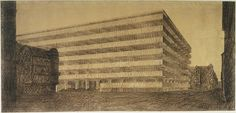 Concrete Office Building, project, Berlin, Germany, Perspective View, 1923  Ludwig Mies van der Rohe