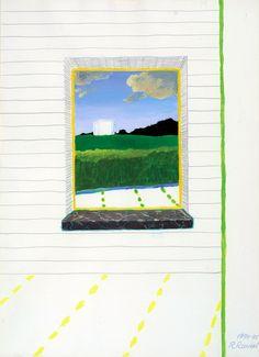 thunderstruck9: Roger Raveel (Belgian, 1921-2013), Vensterdoorkijk met wit vierkant in een bewolkt landschap [View through window with white square in a cloudy landscape], 1974-75. Acrylic and pencil, 76 x 55 cm. via dappledwithshadow