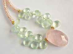 Faceted Prehnite, Rose Quartz and Freshwater Pearl Necklace in Gold Vermeil, Pastel Jewelry on Etsy, $139.00