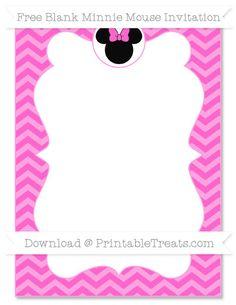 Free Rose Pink Chevron Blank Minnie Mouse Invitation