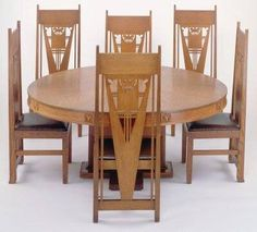 Prairie School dining table and chairs by Georgo Grant Elmslie , 1910