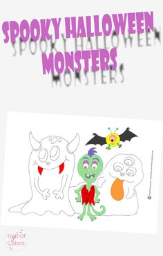 Halloween Monsters Coloring Page - Trail Of Colors