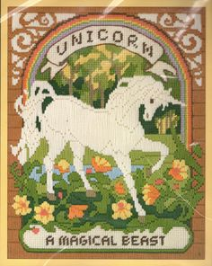 Vintage 80s Unicorn Needlepoint Pattern / Complete by scarlettess