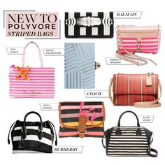 """New to Polyvore: Striped Bags of All Sizes"" by polyvore-editorial ❤ liked on Polyvore"