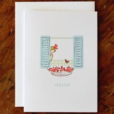 Single Card - Hello - Greeting Card (Blank). $3.50, via Etsy.