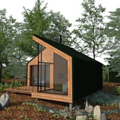 Trendy home office pequeno escandinavo Ideas Cabin Design, Tiny House Design, Modern House Design, Tiny House Cabin, Cabin Homes, Backyard Office, Weekend House, Forest House, Prefab Homes