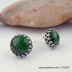 Chrome Diopside Gemstone and Sterling Silver Stud Earrings