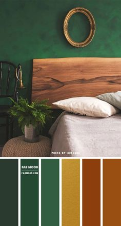 Green Rooms, Bedroom Green, Bedroom Color Schemes, Colour Schemes, Bedroom Color Palettes, Green Color Palettes, Colour Combinations Interior, Earth Colour Palette, Green Palette