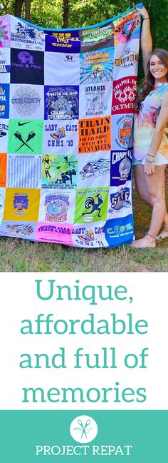 Every t-shirt quilt has a unique story to tell — what will yours say? Learn more about how you can turn t-shirts into a great conversation starter with Project Repat.   https://www.projectrepat.com/?utm_source=Pinterest&utm_medium=1.14P
