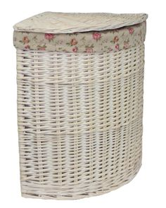 Red Hamper Large Corner White Wash Laundry Basket with a Garden Rose Lining Corner Laundry Basket, Laundry Bin, Corner Garden, Small Corner, Standard Textile, Hamper, Wicker, Colour Colour, Colour Light