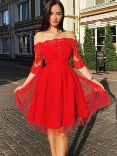 Customized Comfortable Red Homecoming Dresses Off Shoulder Red Short Sleeves Cheap Short Homecoming Dresses Online, Long Sleeve Homecoming Dresses, Hoco Dresses, Sexy Dresses, Evening Dresses, Dresses With Sleeves, Short Sleeves, Half Sleeves, Dress Prom, Banquet Dresses