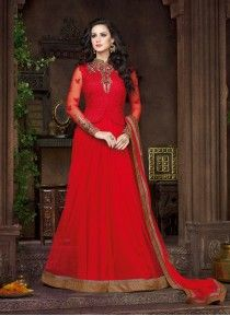 Subtle Red Fancy Fabric Anarkali Salwar Kameez