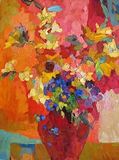 Larisa aukonLarisa Aukon, Warm Times by Larisa Aukon Oil ~ 24 x 18 Arte Floral, Abstract Flowers, Abstract Art, Paintings I Love, Flower Paintings, Matisse Paintings, Painting Flowers, Still Life Art, Fine Art