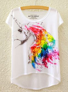 Unicorn Design Tee ONE SIZE - Chest size 95cm (37 inches) Polyester Hem is…