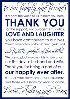 I absolutely love this thank you card! And the idea of leaving these on the tables at a wedding to thank the guests!!