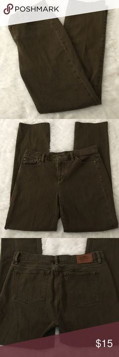 "Lauren Ralph Lauren jeans Lauren Jeans Co. by Ralph Lauren classic straight jeans. The color is a greenish-brown.  Waist: 16 1/2"". Inseam: 30"". Great condition. Lauren Ralph Lauren Jeans Straight Leg"