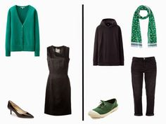 The Vivienne Files: What They're Wearing in Paris - Autumn 2014: Simple black outfits with green accents or accessories.  Interesting and unexpected.