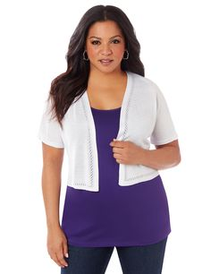 Hemstitch Shrug | Catherines  Perfect for layering with all of your warm-weather outfits, our delicate shrug is a wardrobe staple. The openfront styling is accented by hemstitch-like pointelle insets. Short sleeves. Catherines tops are perfectly proportioned for the plus size woman. #catherinesplus #plussize #plussizefashion #springstyle