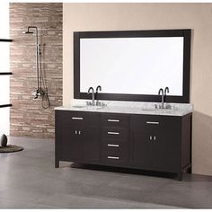 @Overstock - Design Element London Dark Espresso Oak Double Sink Vanity Set - Transform your bathroom with the sleek, contemporary styling of this London vanity set. This double-sink bathroom vanity features a solid oak base and marble counter top.  http://www.overstock.com/Home-Garden/Design-Element-London-Dark-Espresso-Oak-Double-Sink-Vanity-Set/4848763/product.html?CID=214117 $1,543.48