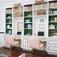 Pop of Green, painted built ins