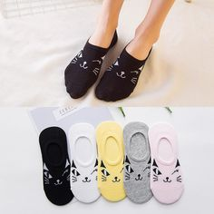 Ladies New Summer And Spring Socks Cartoon Socks Cotton Socks Wink Cat Factory 540 #Affiliate