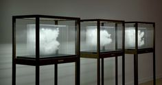 3-D exhibit showing suspended clouds in glass display cases with black trim. Dramatic and cool use of materials.