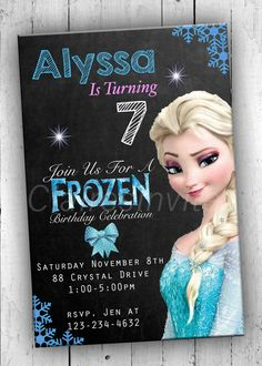 Elsa Party Invitation Frozen Chalkboard by ClairesInvites on Etsy