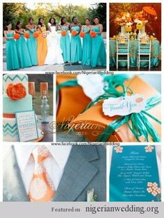 nigerian wedding aquamarine and orange wedding color scheme I would do coral instead of orange but I like the idea of the MOH in another color