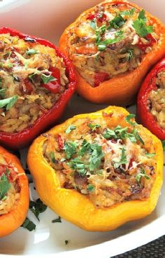 Low FODMAP and Gluten Free Recipe - Peppers with Chicken & Mozzarella
