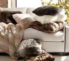 Pottery Barn Faux Fur Throw blankets and pillows
